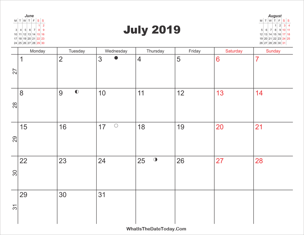 picture relating to Printable Calendar July titled Printable Calendar July 2019 Whatisthedatetoday.Com