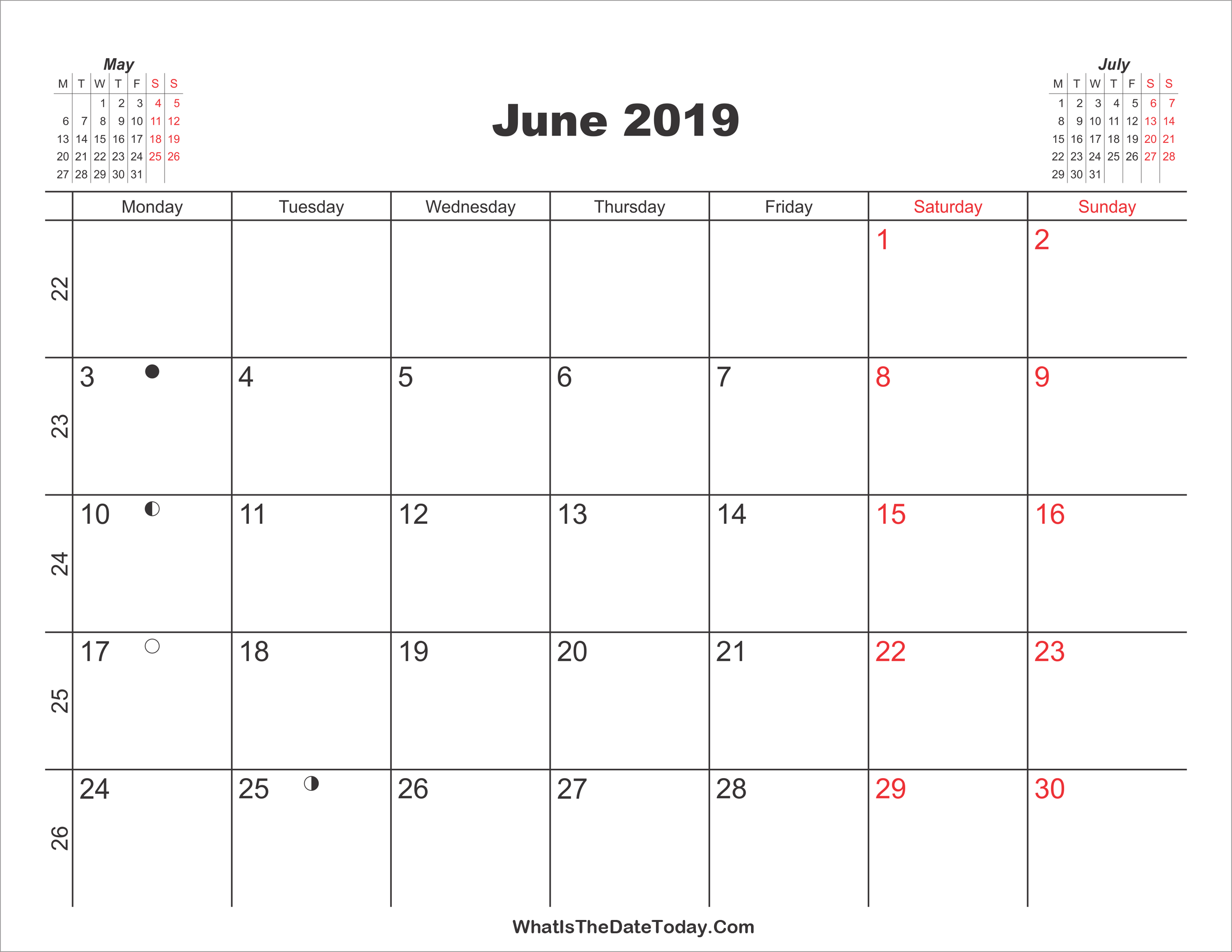 Printable Calendar June 2019 Whatisthedatetoday Com