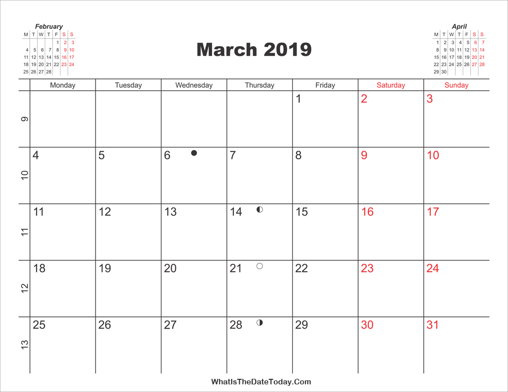 photo relating to Calendar March Printable identified as Printable Calendar March 2019 Whatisthedatetoday.Com