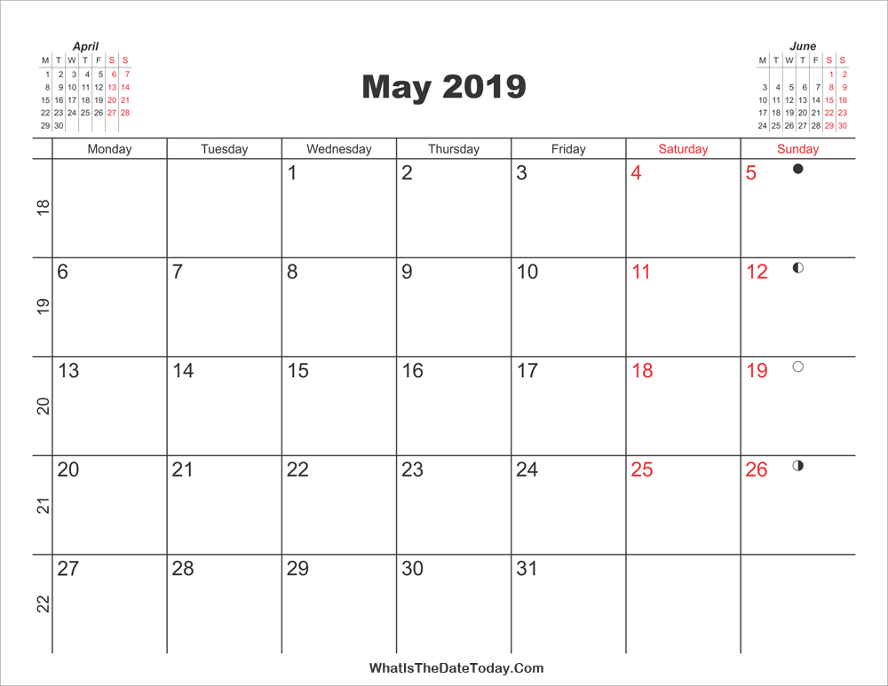 picture about Printable Calendars May known as Printable Calendar May perhaps 2019 Whatisthedatetoday.Com