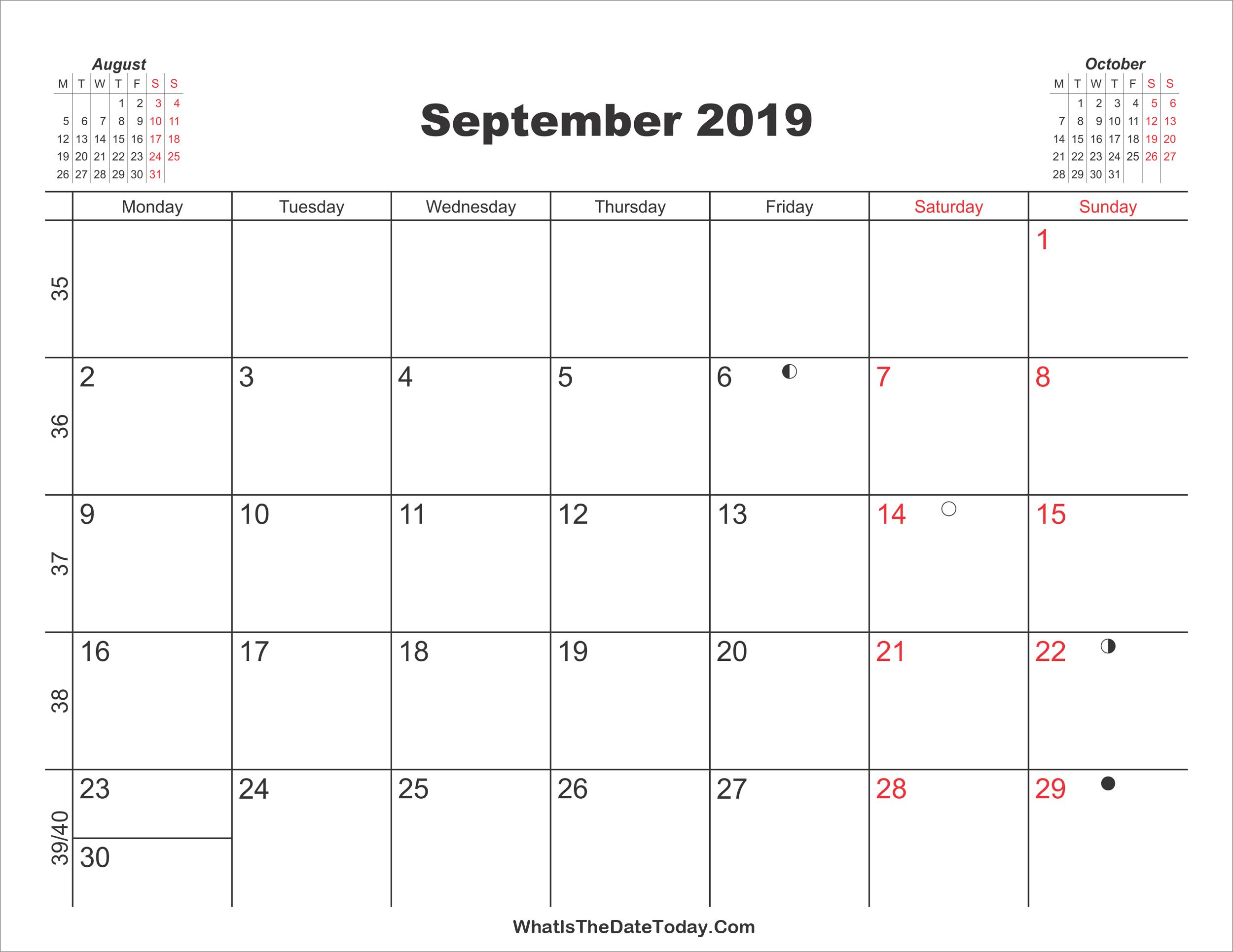 Printable Calendar September 2019 Whatisthedatetoday Com