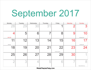 september 2017 calendar printable with holidays