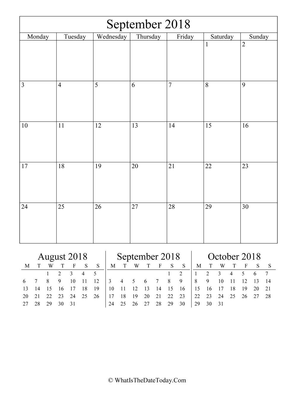 September 2018 Editable Calendar (vertical layout