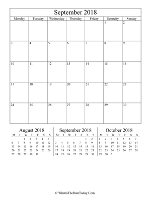 september 2018 editable calendar (vertical layout)