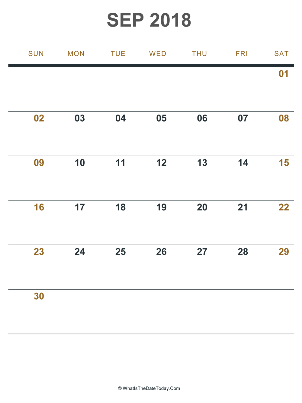 september 2018 printable calendar (portrait layout)