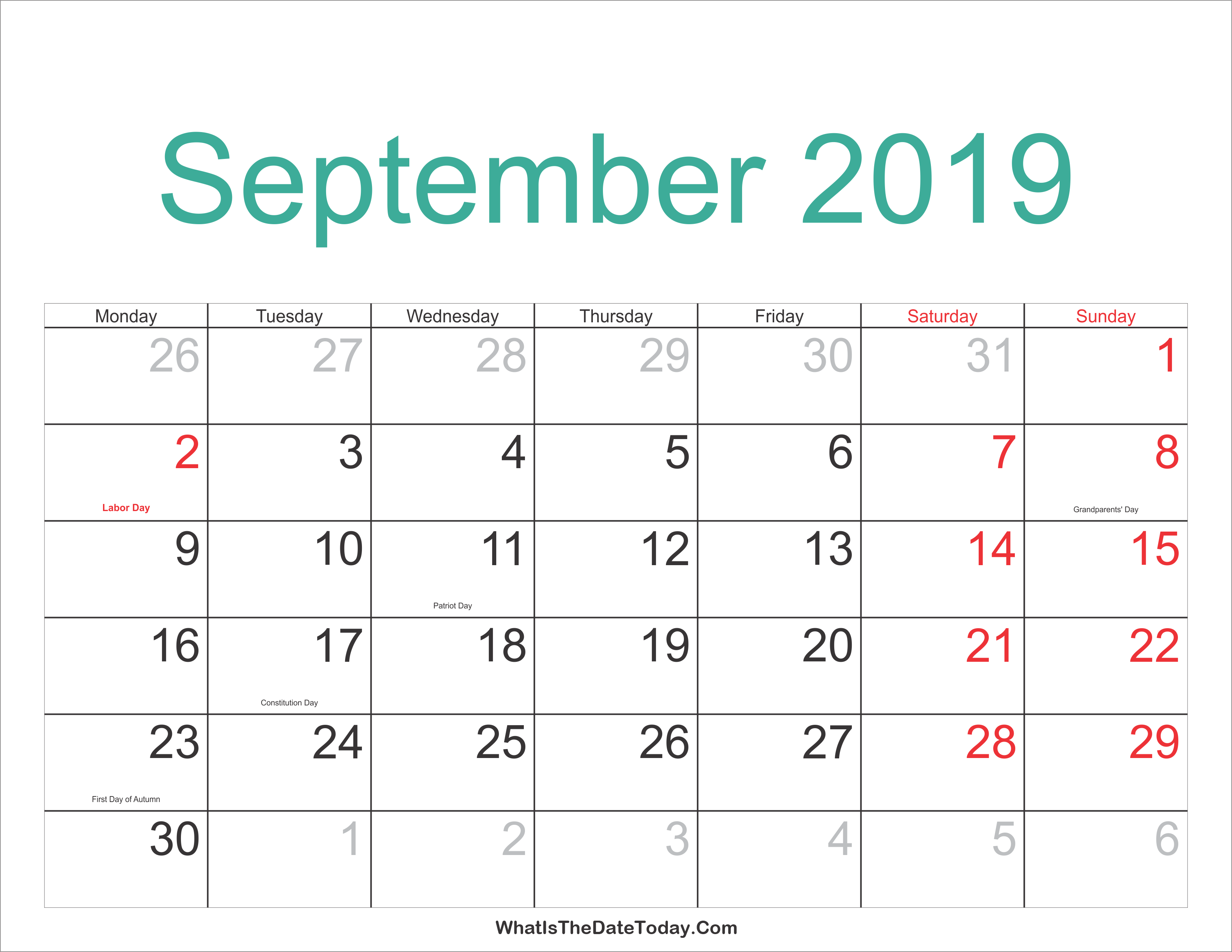 September 2019 Jewish Calendar September 2019 Calendar Printable with Holidays