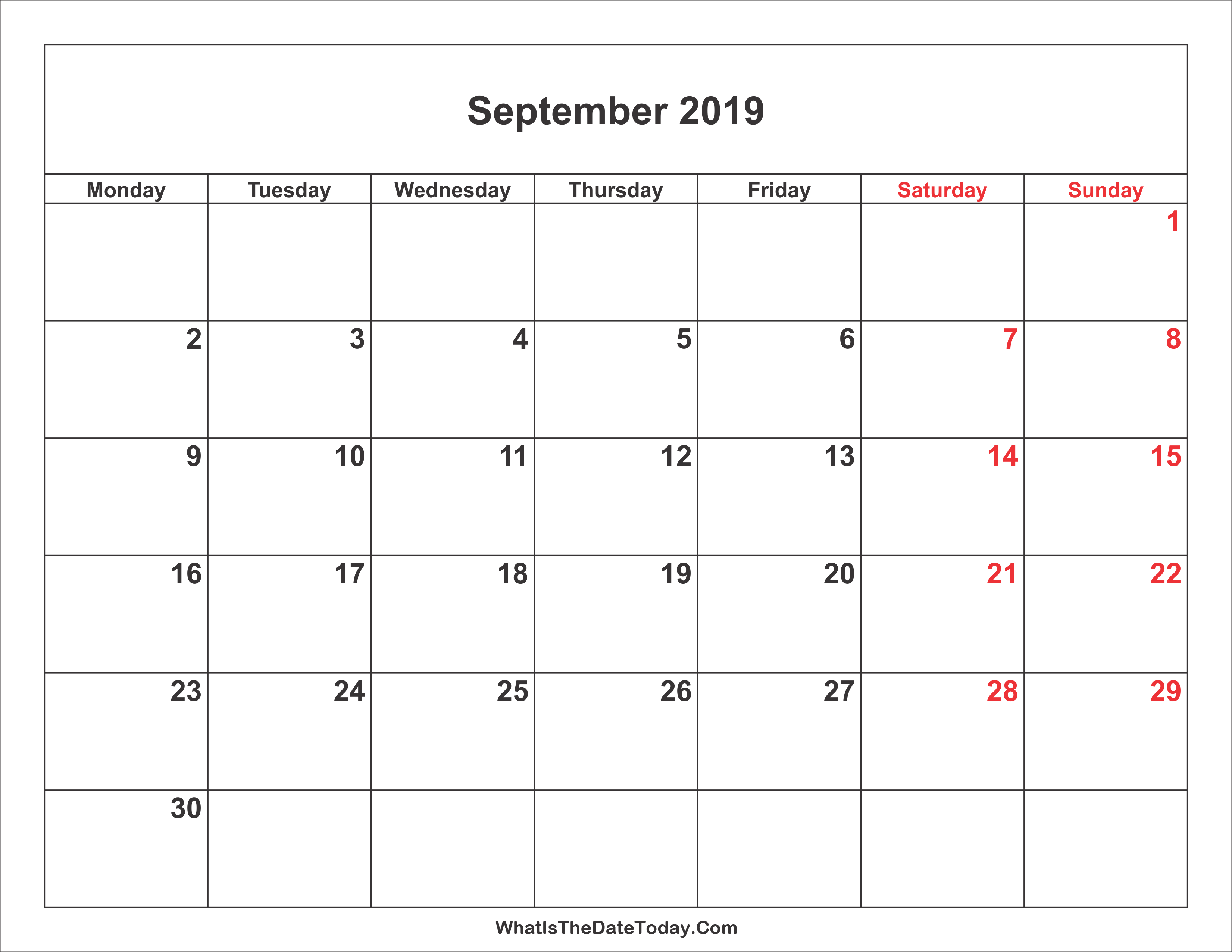 September 2019 Calendar With Weekend Highlight Whatisthedatetoday Com