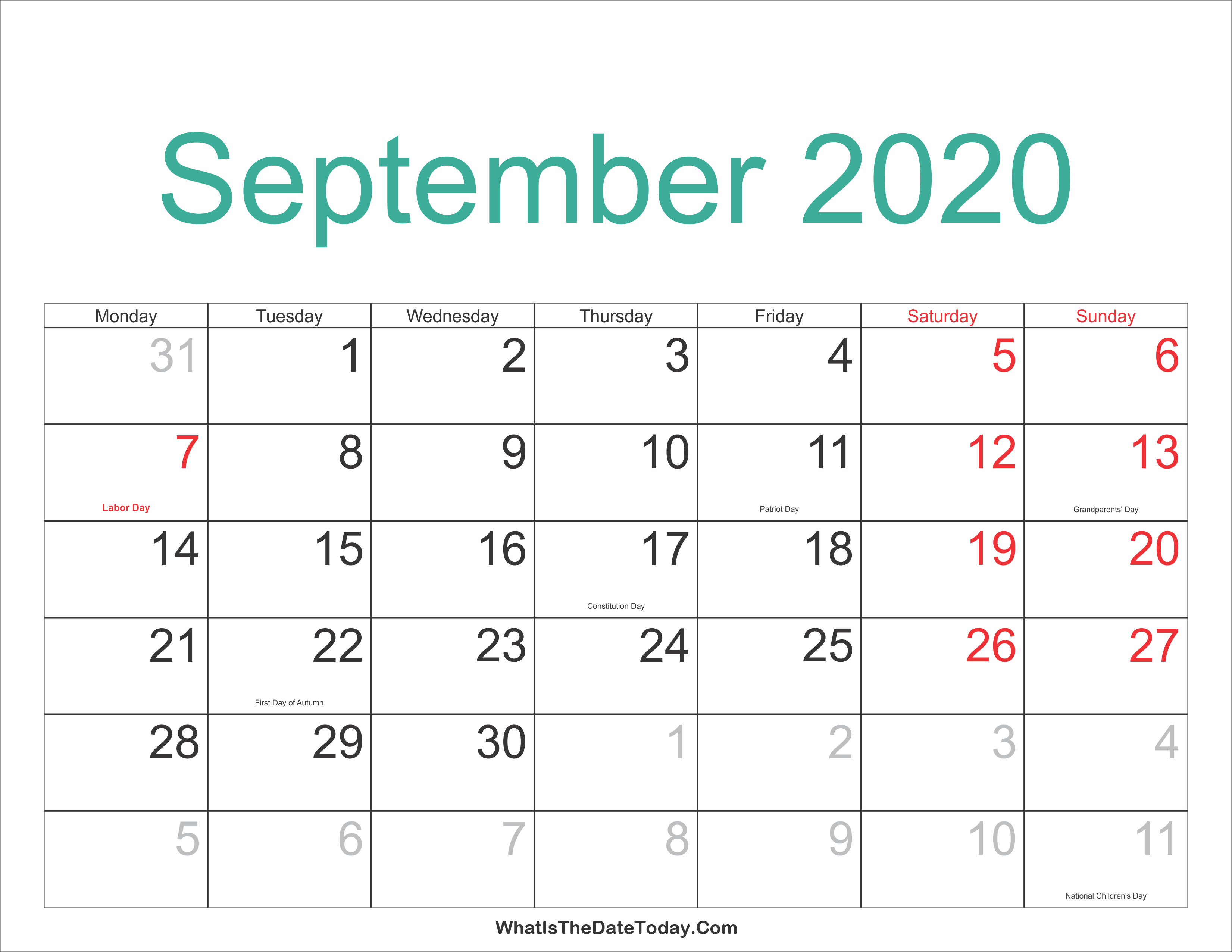 September 2020 Calendar With Holidays September 2020 Calendar Printable with Holidays