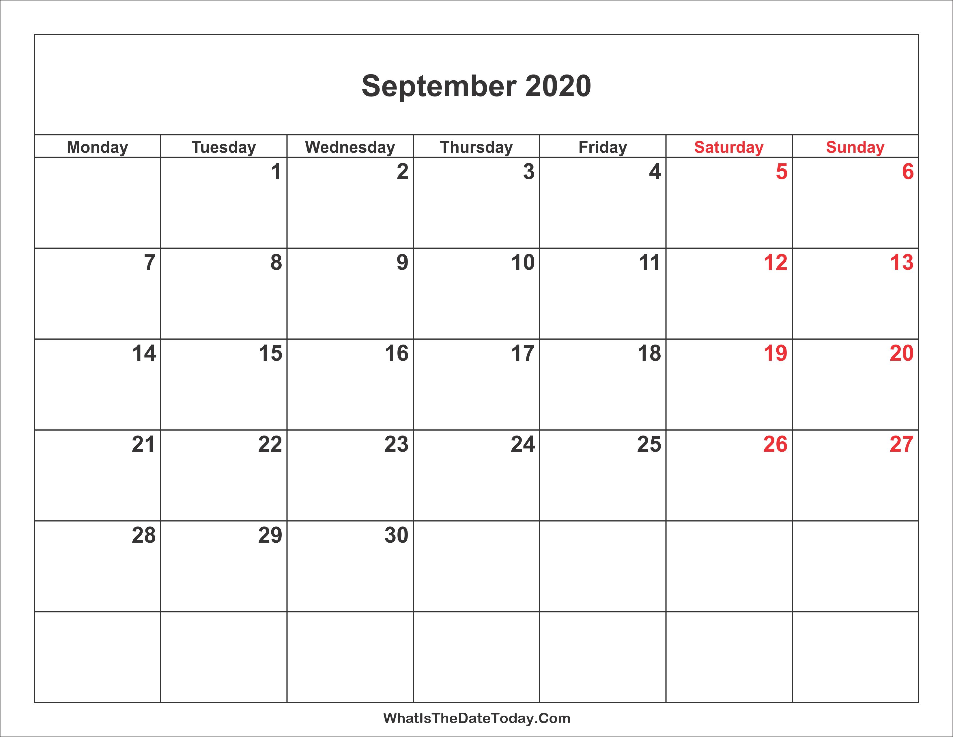 September 2020 Calendar With Holidays September 2020 Calendar with Weekend Highlight