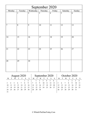 september 2020 editable calendar (vertical) with three mini months