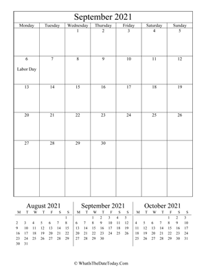 september 2021 editable calendar (vertical) with three mini months